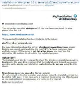 MyWebToNet WordPress Installation Email