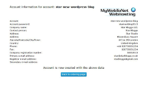 MyWebToNet New Account Created Page