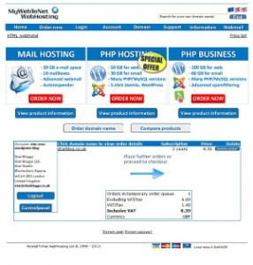 MyWebToNet Place Further Orders or Proceed to Checkout Page