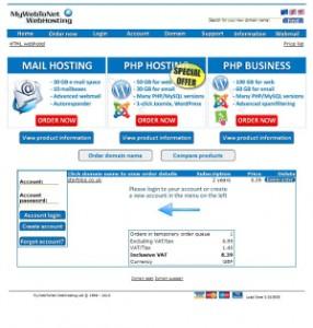 MyWebToNet Accept Order Product Login Page