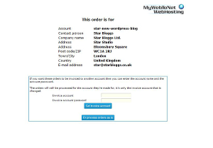 MyWebToNet Order is for Page